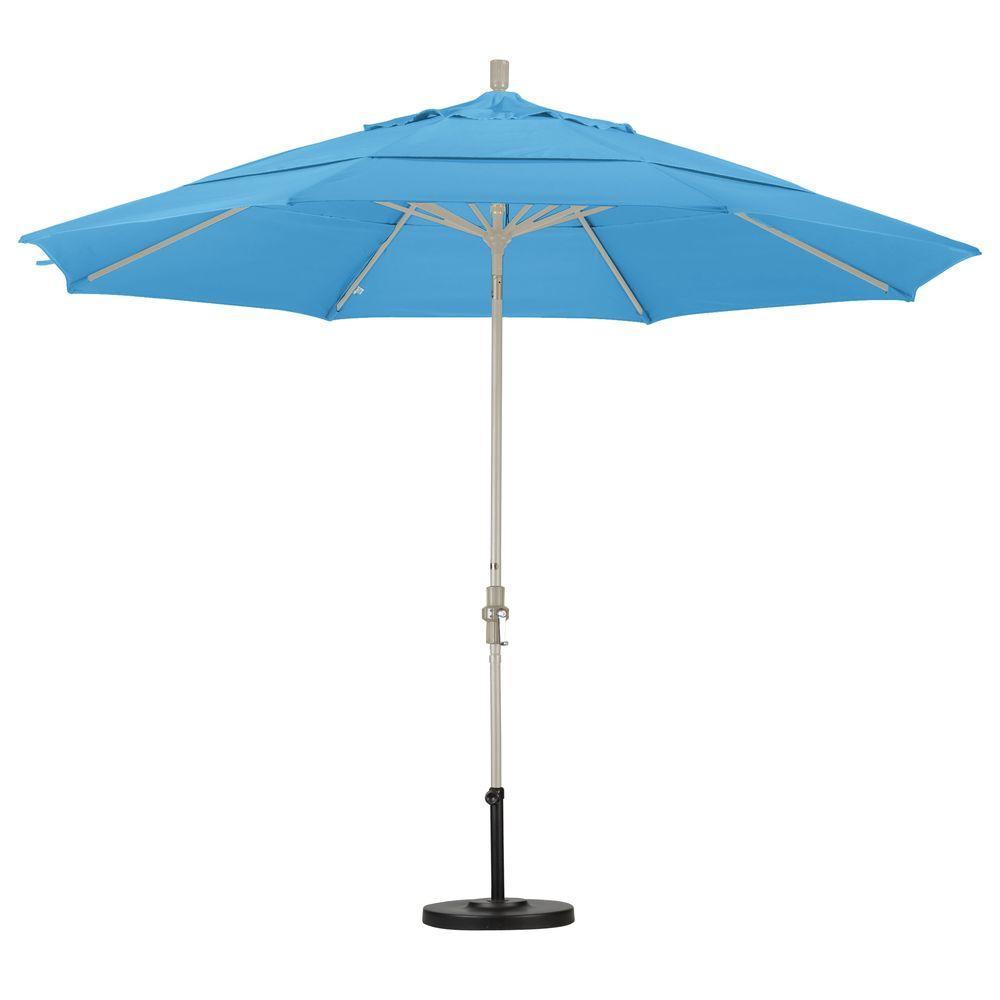 11 ft. Aluminum Collar Tilt Double Vented Patio Umbrella in Capri Pacifica