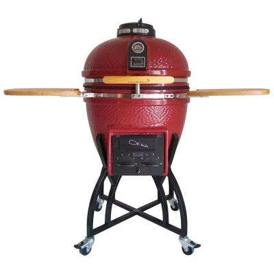 Kamado Professional Ceramic Charcoal Grill in Chili Red with Grill Cover