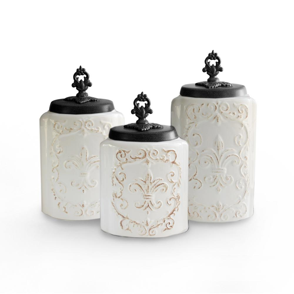 American Atelier 3 Piece White Antique Ceramic Canister Set With Lid 1182139 Rb The Home Depot
