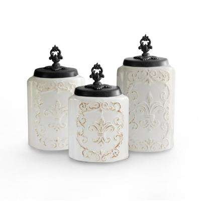 3-Piece White Antique Ceramic Canister Set with Lid