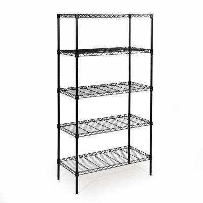 60 in. H x 14 in. W x 30 in. D 5-Shelf Home Wire Shelving System in Black