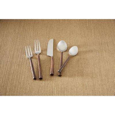 Copper Handle 5-Piece Place Setting Flatware Set