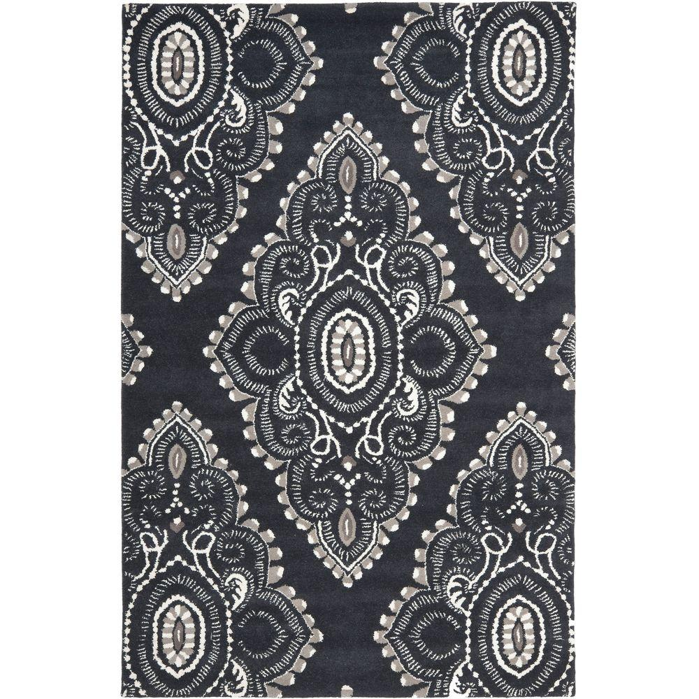 Wyndham Dark Grey/Ivory 8 ft. x 10 ft. Area Rug