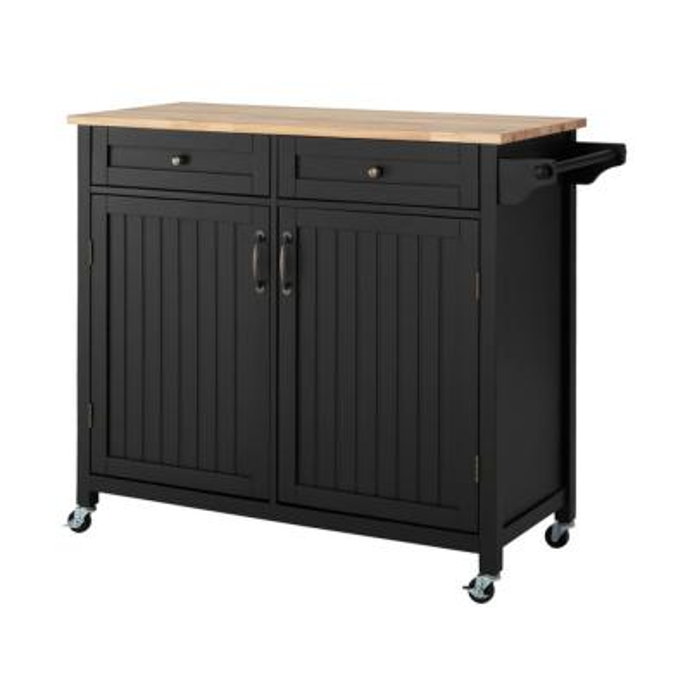 Bainport Black Kitchen Cart with Butcher Block Top