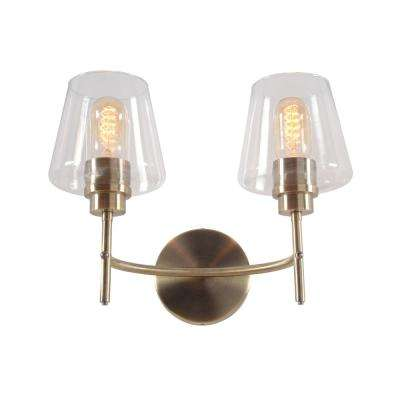 Martin 14 in. 2-Light Antique Brass Vanity Light with Clear Glass Shades