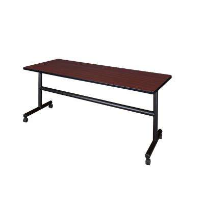 Kobe Mahogany 72 in. W x 24 in. D Flip Top Mobile Training Table