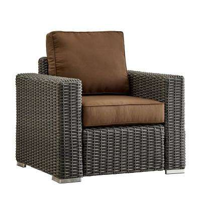 Camari Charcoal Square Arm Wicker Outdoor Patio Lounge Chair with Brown Cushion