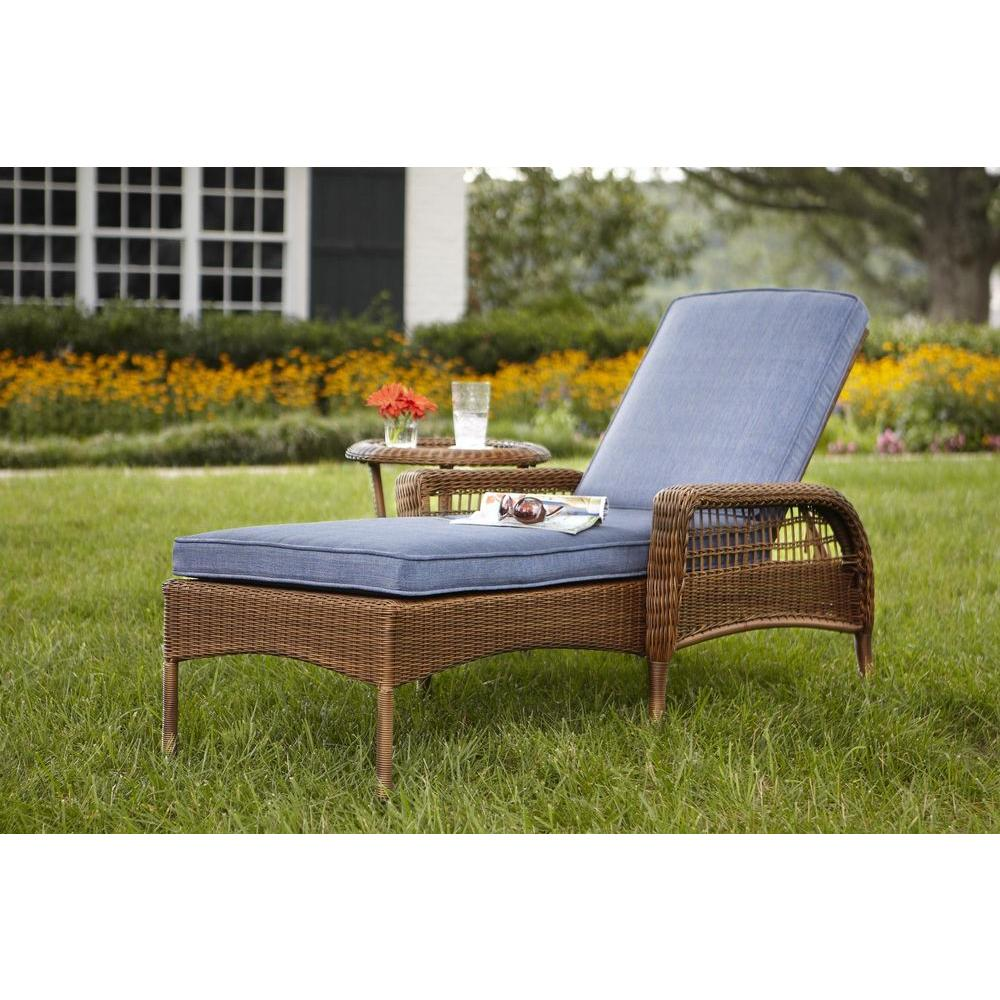 hampton bay spring haven brown all weather wicker outdoor patio chaise lounge with sky blue cushions 66 20352 the home depot - Garden Furniture Loungers