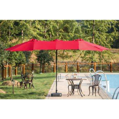 9 x 15 ft. Steel Market Patio Umbrella in Red