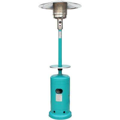 41,000 BTU 7 ft. Steel umbrella Propane Patio Heater in Teal