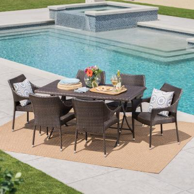 Madeleine Multi-Brown 7-Piece Wicker Outdoor Dining Set with Foldable Table and Stacking Chairs