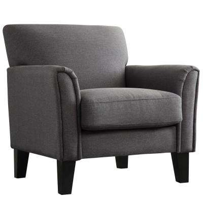 Durham Charcoal Linen Arm Chair. Charcoal; Grey; White