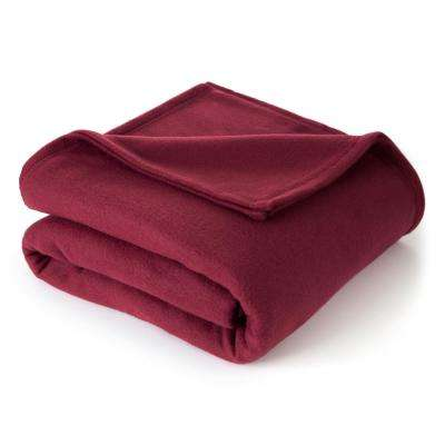 Supersoft Fleece Burgundy Polyester Twin Blanket