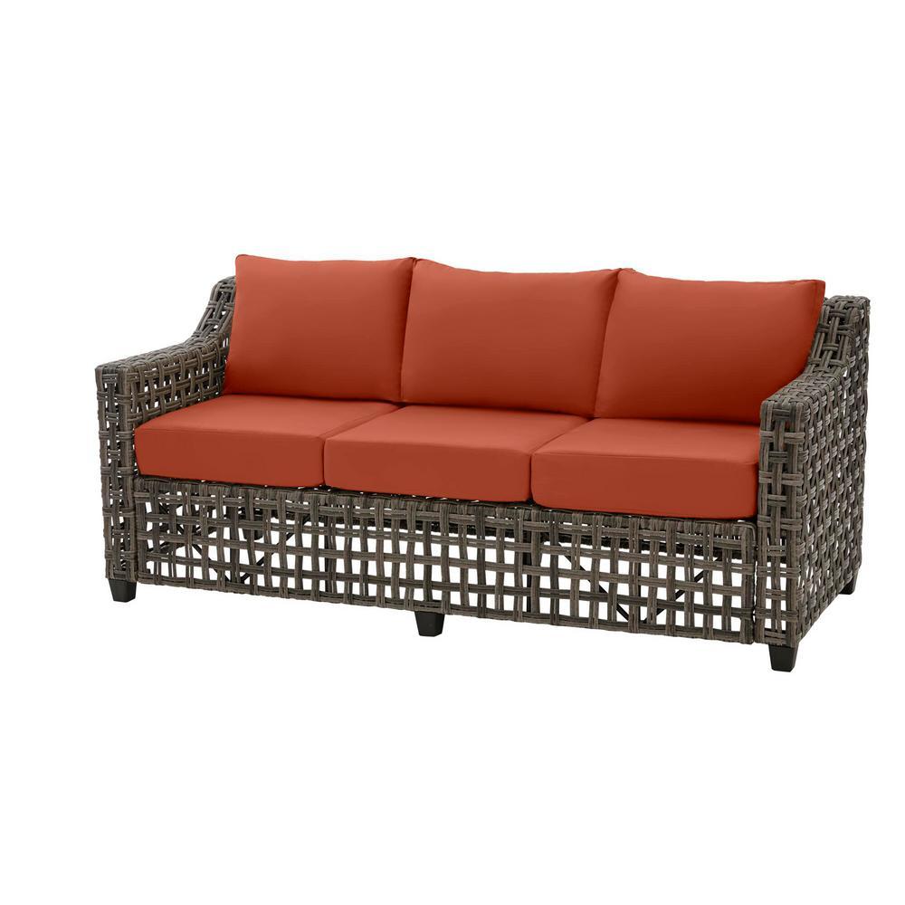 Briar Ridge Brown Wicker Outdoor Patio Sofa with CushionGuard Quarry Red Cushions