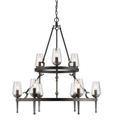 Marcellis 9-Light Dark Natural Iron Chandelier with Clear Glass Shade