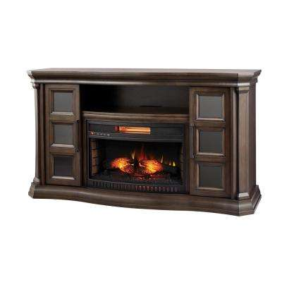 Park Canyon 59.75 in. Bow Front Electric Fireplace TV Stand Infrared in Twilight