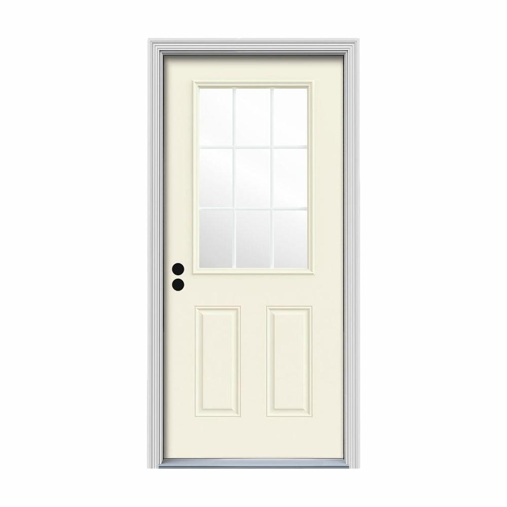 32 in. x 80 in. 9 Lite Vanilla Painted Steel Prehung Right-Hand Inswing Front Door w/Brickmould