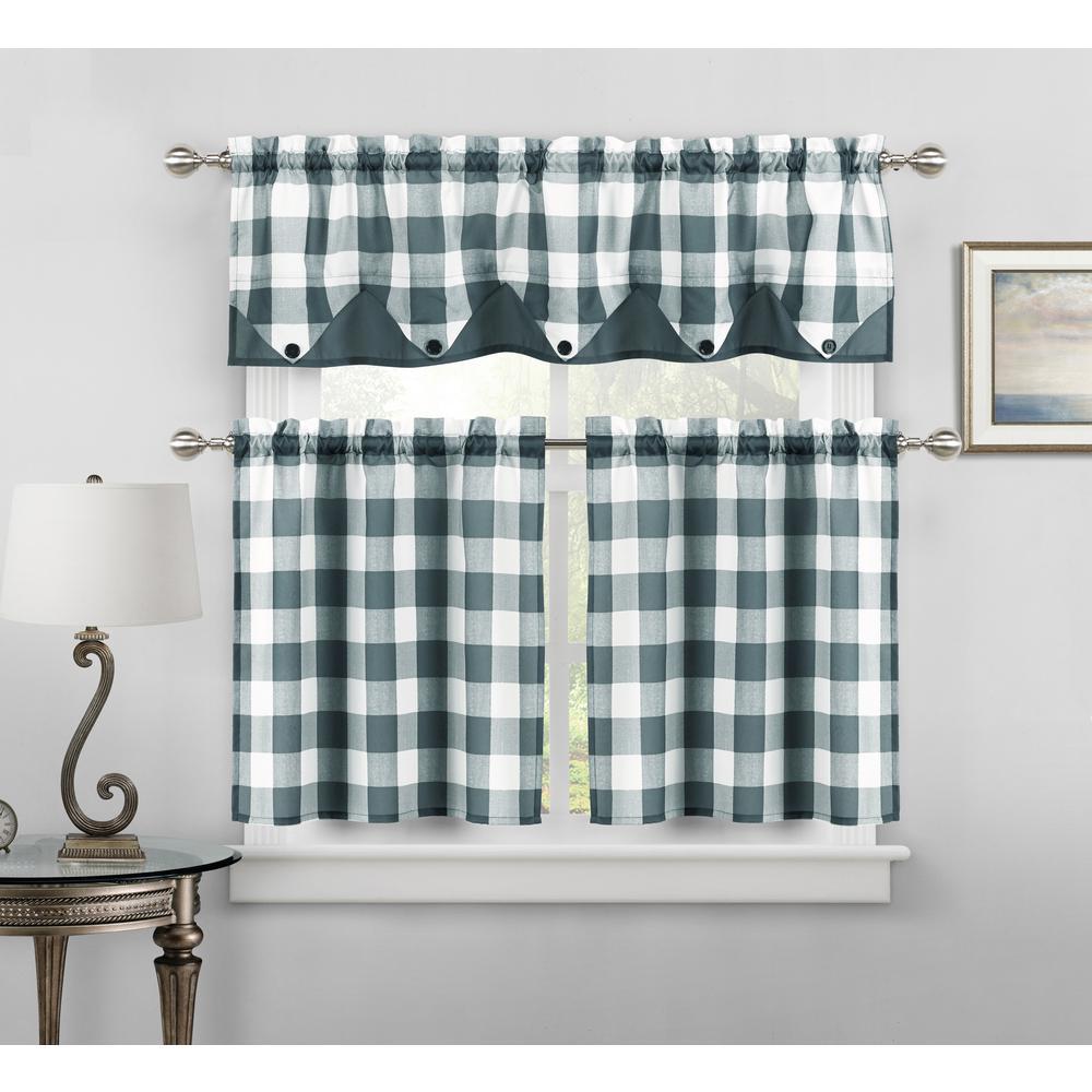 Kingdy Bay Blue Kitchen Curtain Set - 56 in. W x 14 in. L in (3-Piece)
