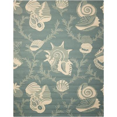 Portico Aqua 8 ft. x 11 ft. Indoor/Outdoor Area Rug