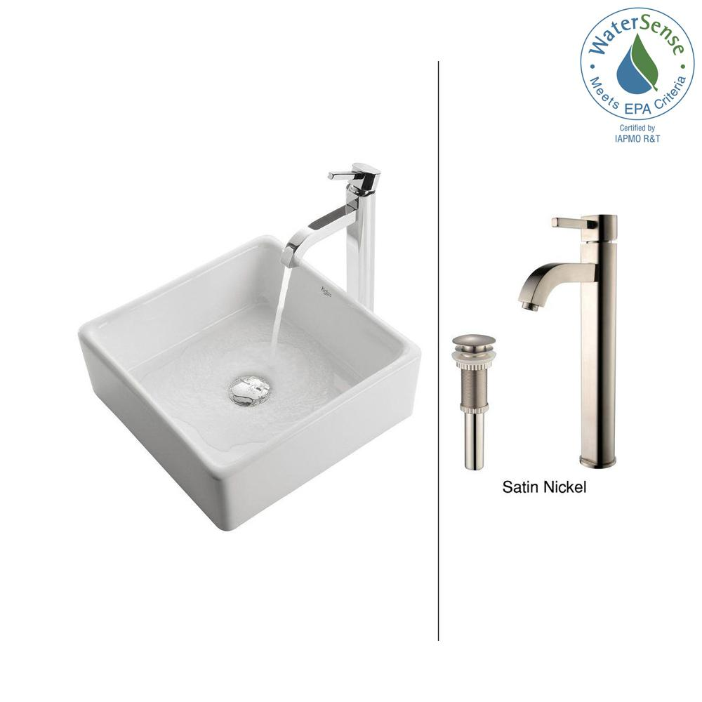 KRAUS Square Ceramic Vessel Sink in White with Ramus Faucet in Satin Nickel