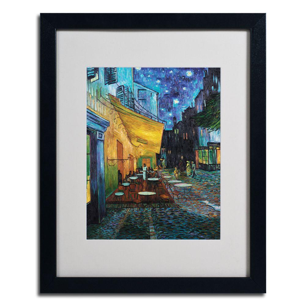 Trademark Fine Art 16 in. x 20 in. Cafe Terrace Black Framed Matted Art