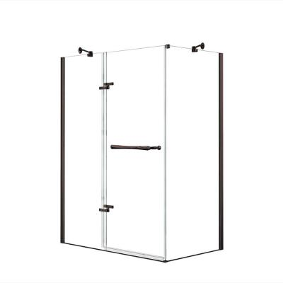Reveal 29-7/8 in. x 60 in. x 71-1/2 in. Frameless Corner Pivot Shower Enclosure in Dark Bronze