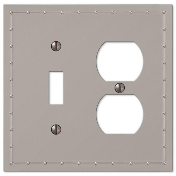 Rosa 2 Gang 1-Toggle and 1-Duplex Metal Wall Plate - Satin Nickel