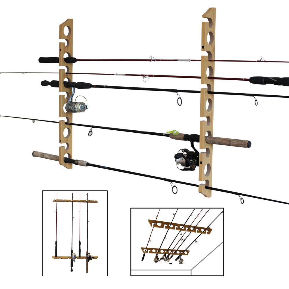 Rush Creek Creations 11 Fishing Rod Versatile 3 In 1 Wall And Ceiling Storage Rack 38 3017 The Home Depot