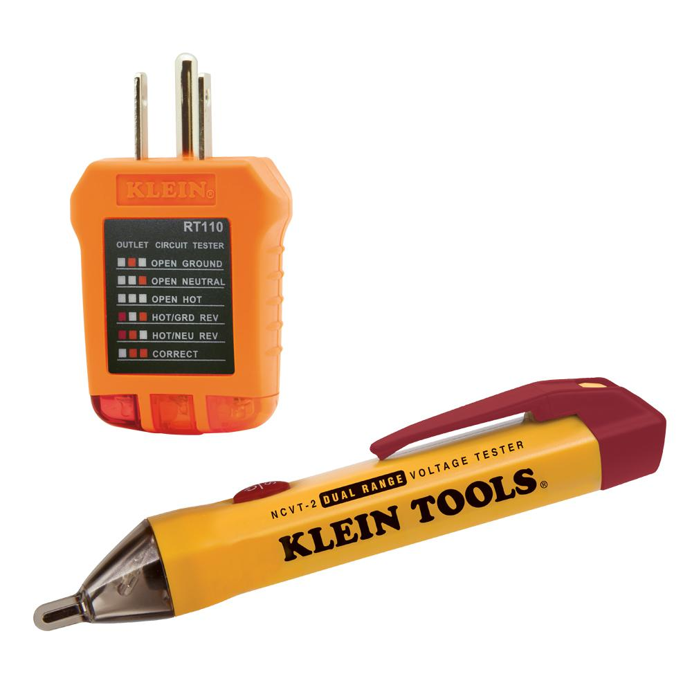 Klein Tools Dual Range Non-Contact Voltage Tester with Outlet Tester Kit (2-Piece)