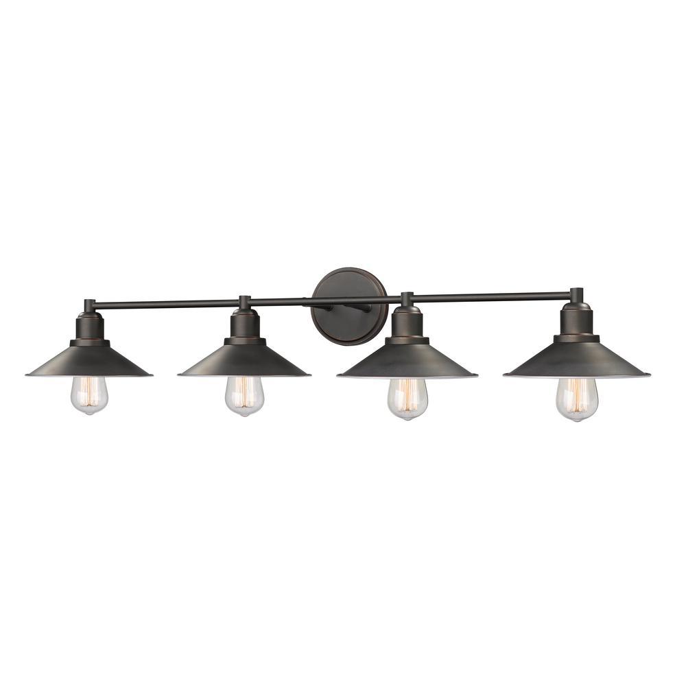 Cortez 4-Light Olde Bronze Bath Light with Olde Bronze Steel Shade