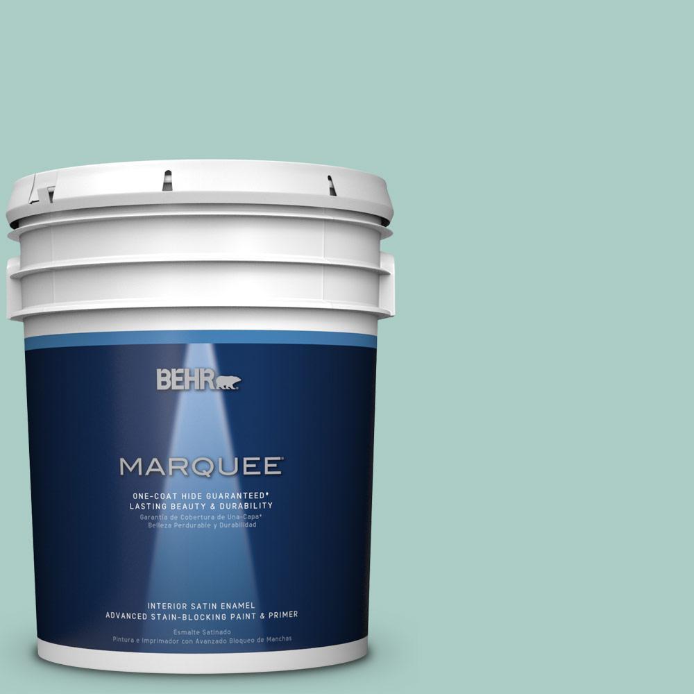 5 gal. #M440-3 Baby Aqua One-Coat Hide Satin Enamel Interior Paint