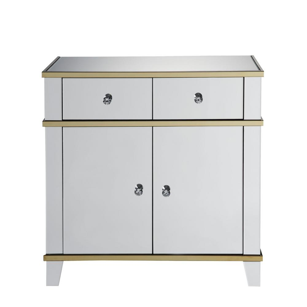 Acme Furniture Osma Mirrored And Gold Console Table 97432 The Home Depot
