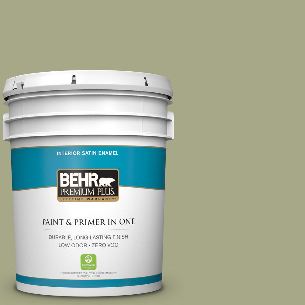 BEHR Premium Plus 5-gal. #S360-4 Meditation Time Satin Enamel Interior Paint