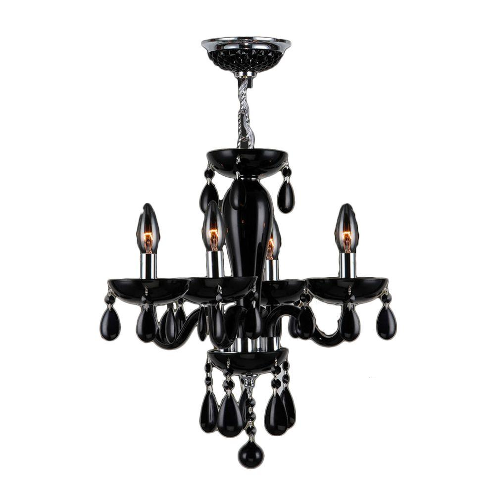 Crystal chandeliers lighting the home depot gatsby collection 4 light chrome and black crystal chandelier arubaitofo Images