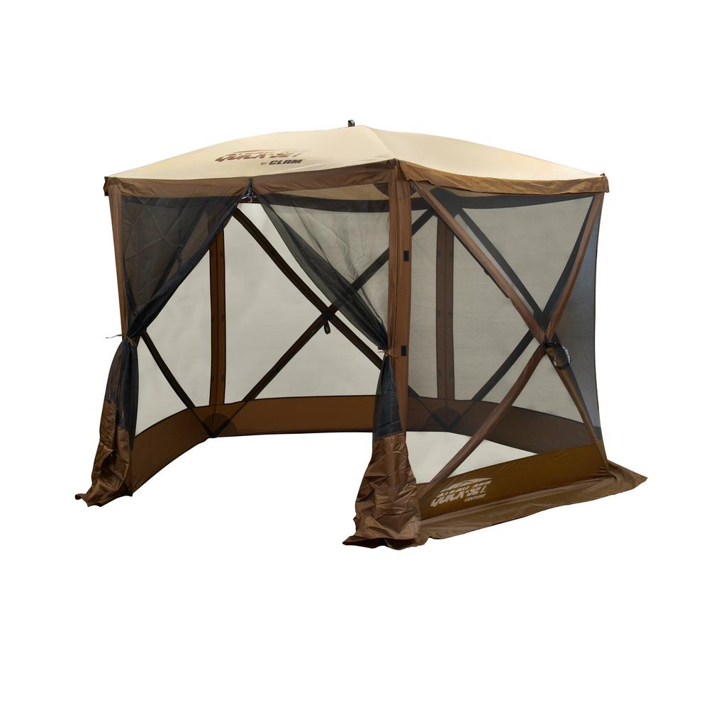 separation shoes 5d569 1985a Clam Quickset Venture 5-Side Brown/Tan Roof Screen Shelter with Wind Panel  Flaps