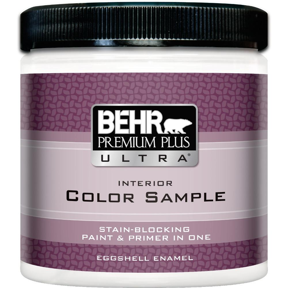 Behr premium plus ultra 8 oz medium base eggshell enamel interior paint and primer in one for Behr interior paint and primer in one