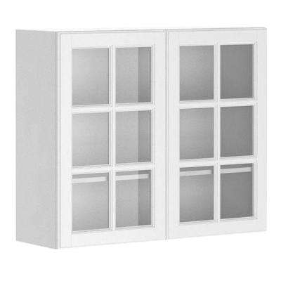 Ready to Assemble 36x30x12.5 in. Birmingham Wall Cabinet in White Melamine and Glass Door in White