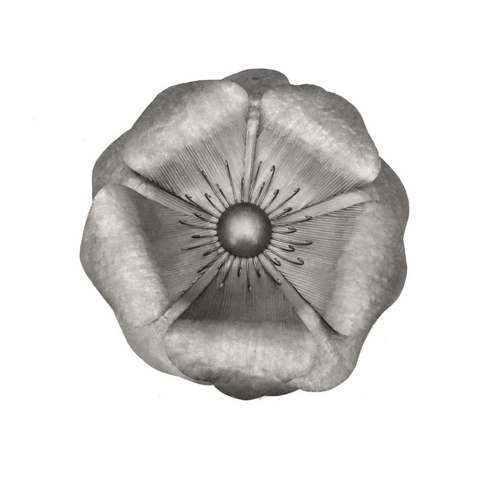 """Silver Metal Poppy Wall Flower,  25.5"""", Window Box"""