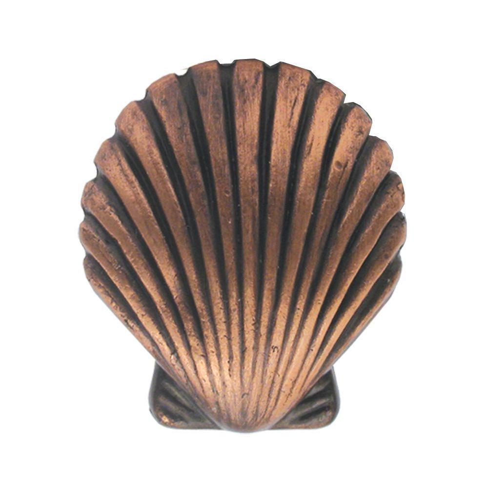 Charmant Antique Copper Seashell Cabinet Knob