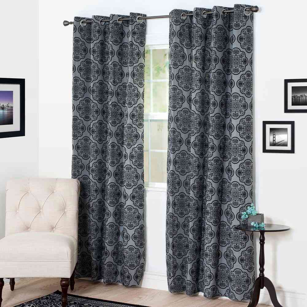 Lavish Home Semi-Opaque Dana Flocked Charcoal Polyester Grommet - Sale: $9.71 USD (45% off)