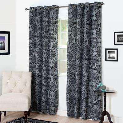Semi-Opaque Dana Flocked Charcoal Polyester Grommet Curtain - 54 in. W x 95 in. L
