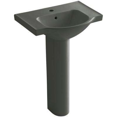 Veer 24 in. Vitreous China Pedestal Combo Bathroom Sink in Thunder Grey with Overflow Drain