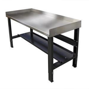 28 in. x 60 in. Adjustable Height Workbench with Stainless Steel Top and Bottom Shelf Built-in Back and Side Guards