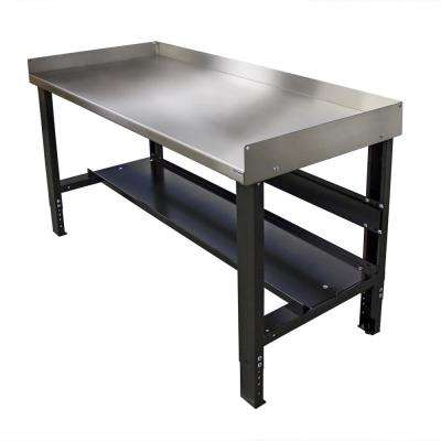 28 in. x 60 in. Adjustable Height Work Bench with Stainless Steel Top and Bottom Shelf, Built-in Back and Side Guards