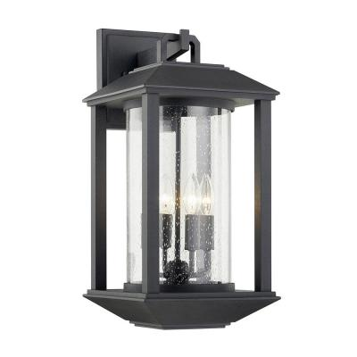 Mccarthy Weathered Graphite 4-Light Wall Sconce with Clear Seeded Glass Shade