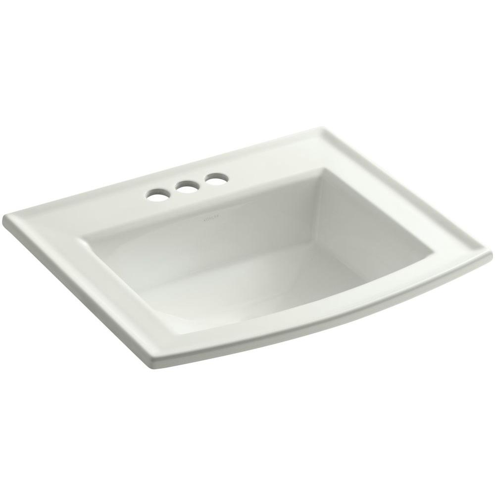 Archer Drop-In Vitreous China Bathroom Sink in Dune with Overflow Drain