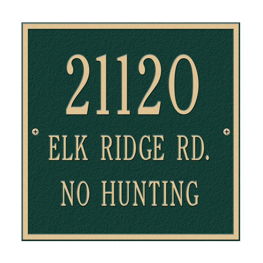 Whitehall Products Square Standard Wall 3-Line Address Plaque - Green/Gold