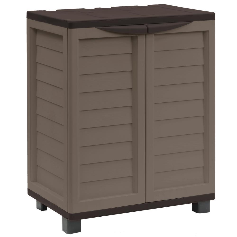 Starplast 2 Ft 5 In X 1 8 3 Plastic Mocha Brown Storage Cabinet With Shelves