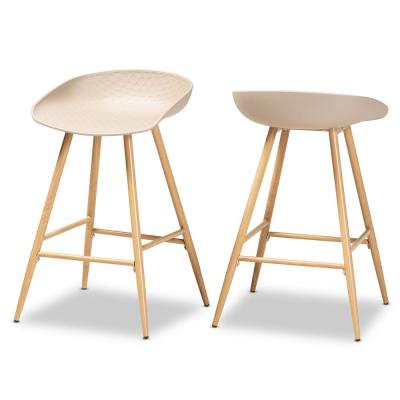 Mairi 24 in. Beige Counter Stools (Set of 2)