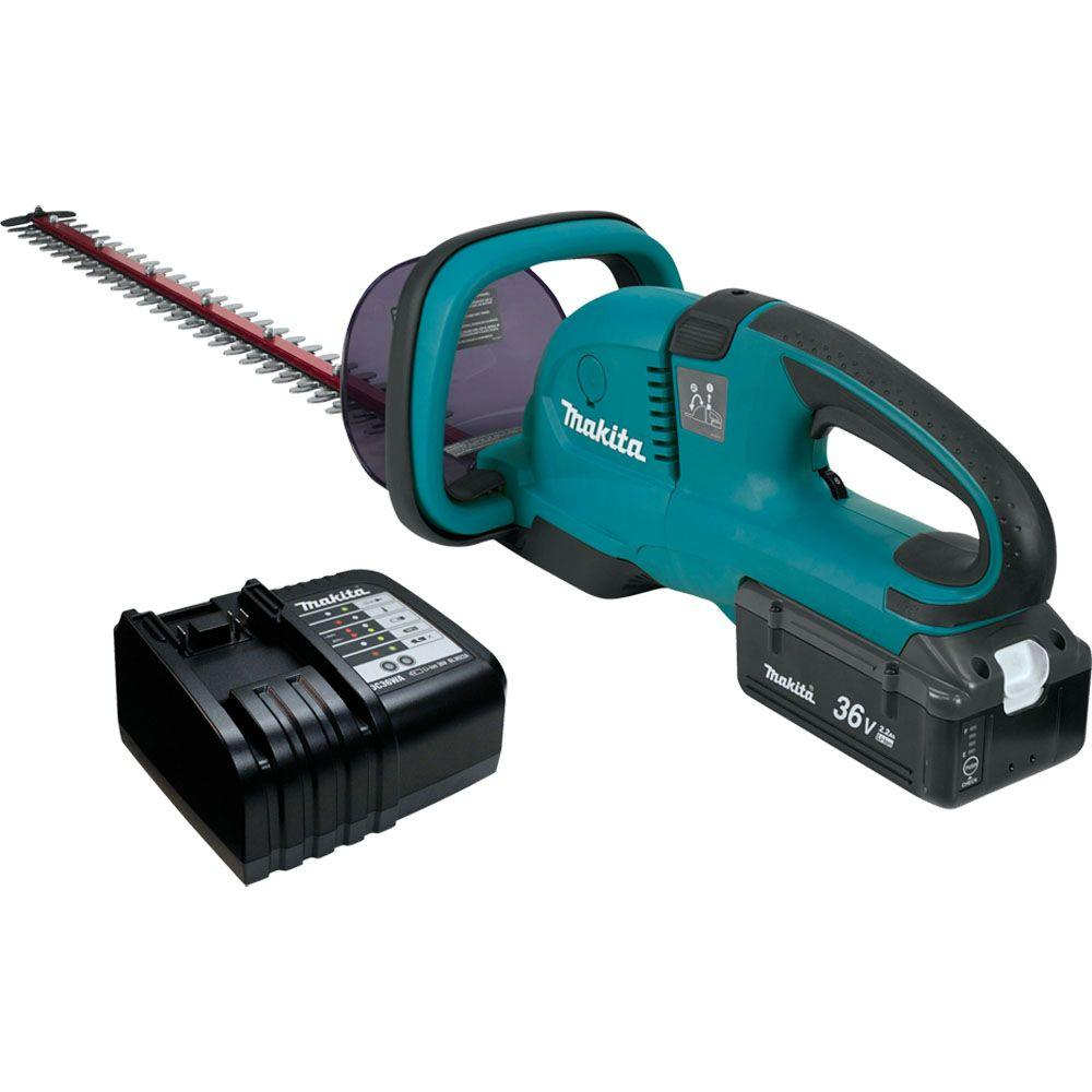 makita 36 volt lithium ion 25 5 in cordless hedge trimmer kit hhu01c1 the home depot. Black Bedroom Furniture Sets. Home Design Ideas